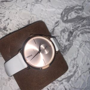 White leather band, rose gold Michael Kors Watch